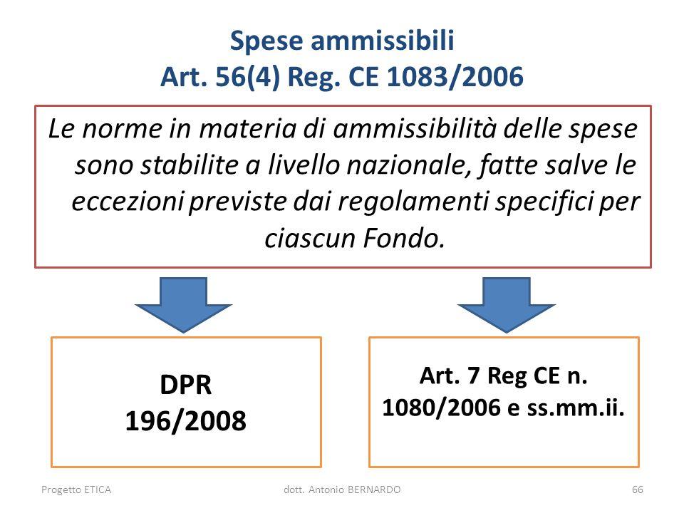 Spese ammissibili Art. 56(4) Reg. CE 1083/2006