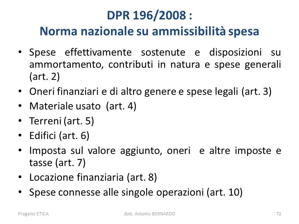 DPR 196/2008 : Norma nazionale su ammissibilità spesa