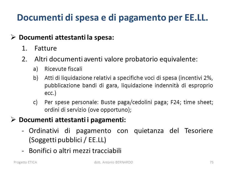 Documenti di spesa e di pagamento per EE.LL.