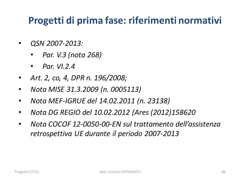 Progetti di prima fase: riferimenti normativi