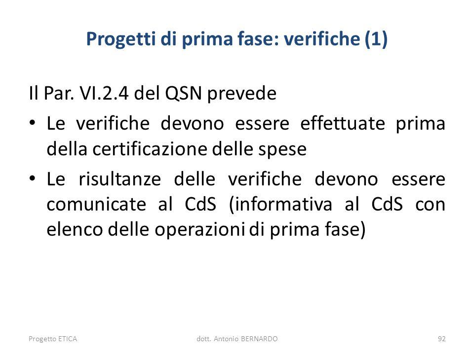 Progetti di prima fase: verifiche (1)