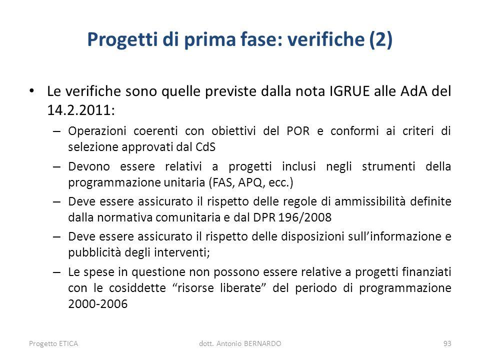Progetti di prima fase: verifiche (2)