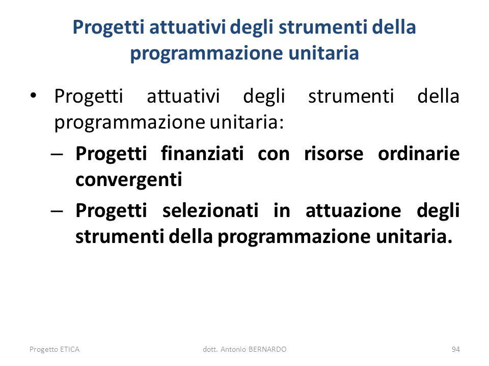 Progetti attuativi degli strumenti della programmazione unitaria