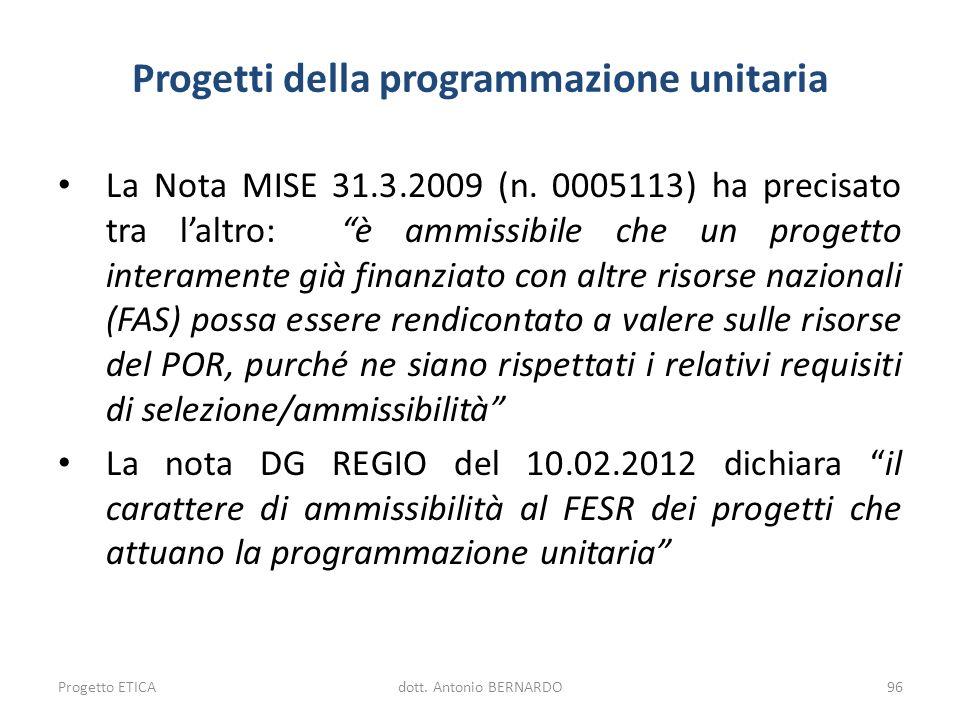 Progetti della programmazione unitaria