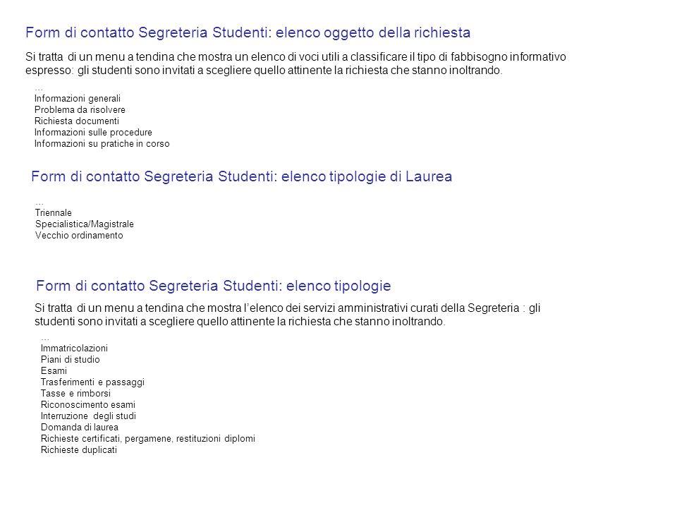 Form di contatto Segreteria Studenti: elenco oggetto della richiesta