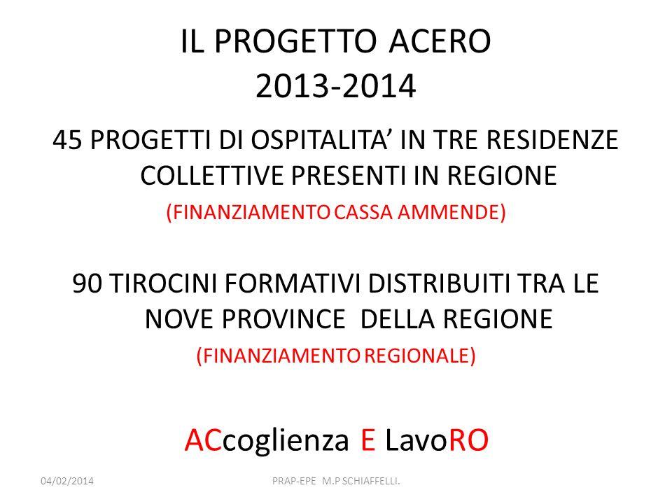 IL PROGETTO ACERO 2013-2014 ACcoglienza E LavoRO