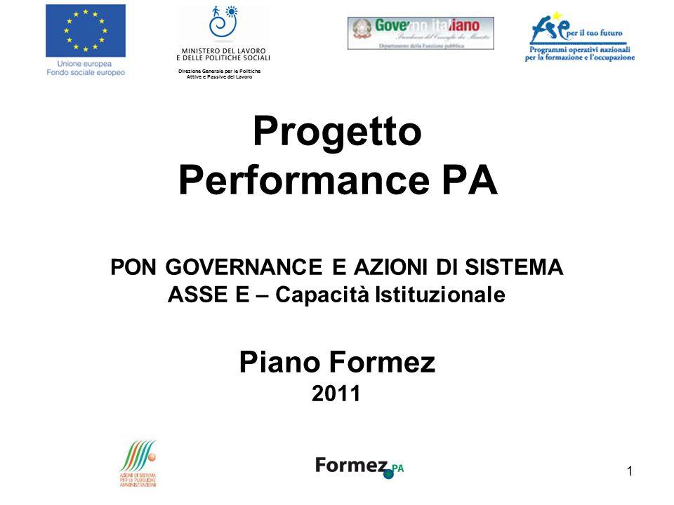 Progetto Performance PA PON GOVERNANCE E AZIONI DI SISTEMA ASSE E – Capacità Istituzionale Piano Formez 2011