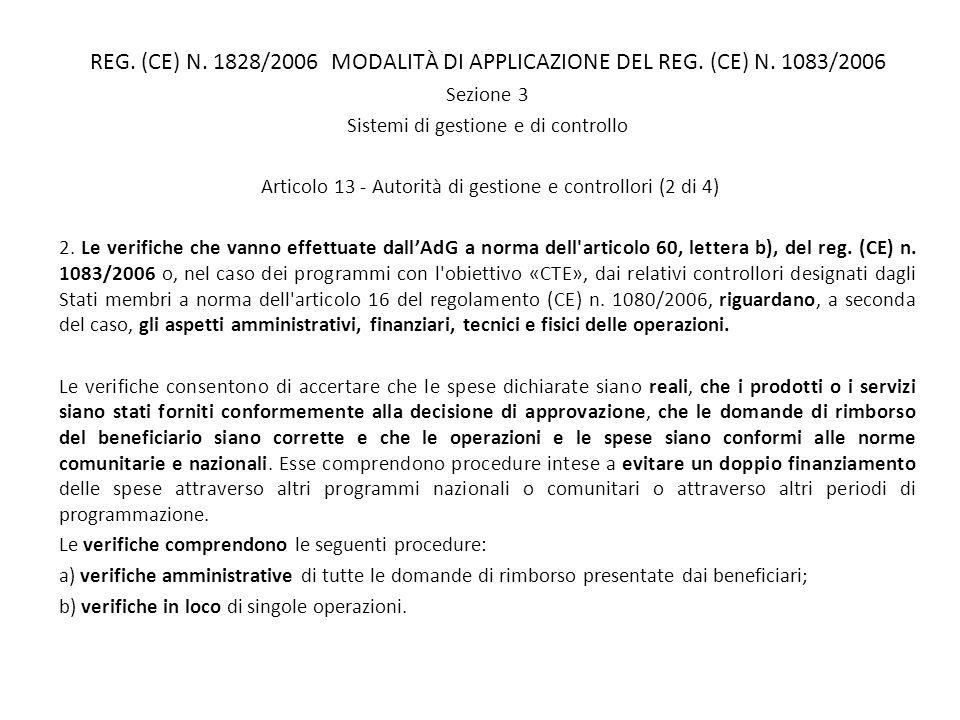 REG. (CE) N. 1828/2006 MODALITÀ DI APPLICAZIONE DEL REG. (CE) N