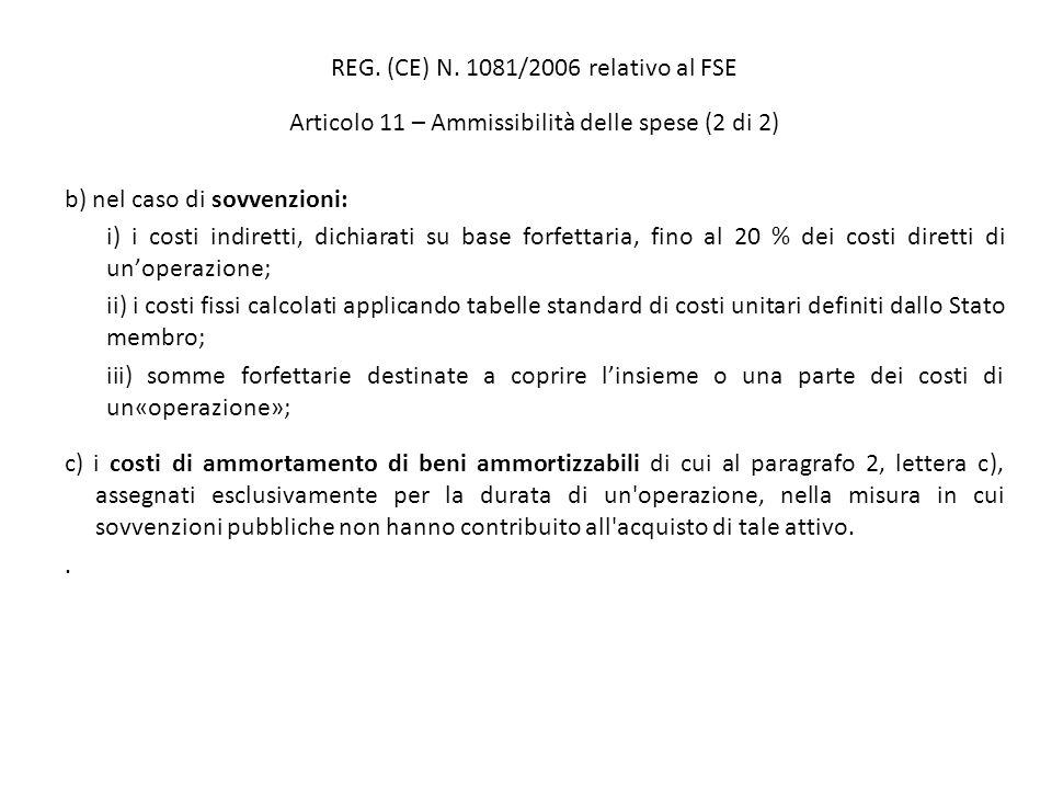REG. (CE) N. 1081/2006 relativo al FSE