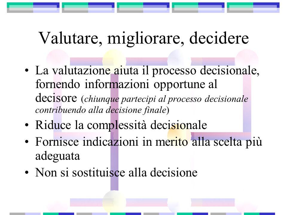 Valutare, migliorare, decidere