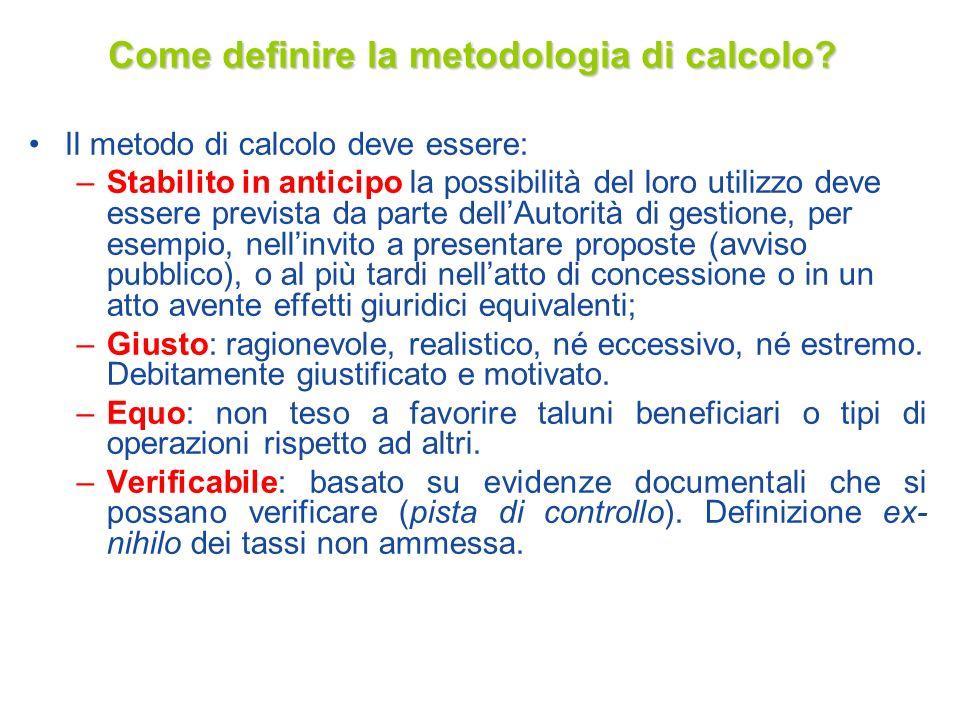 Come definire la metodologia di calcolo