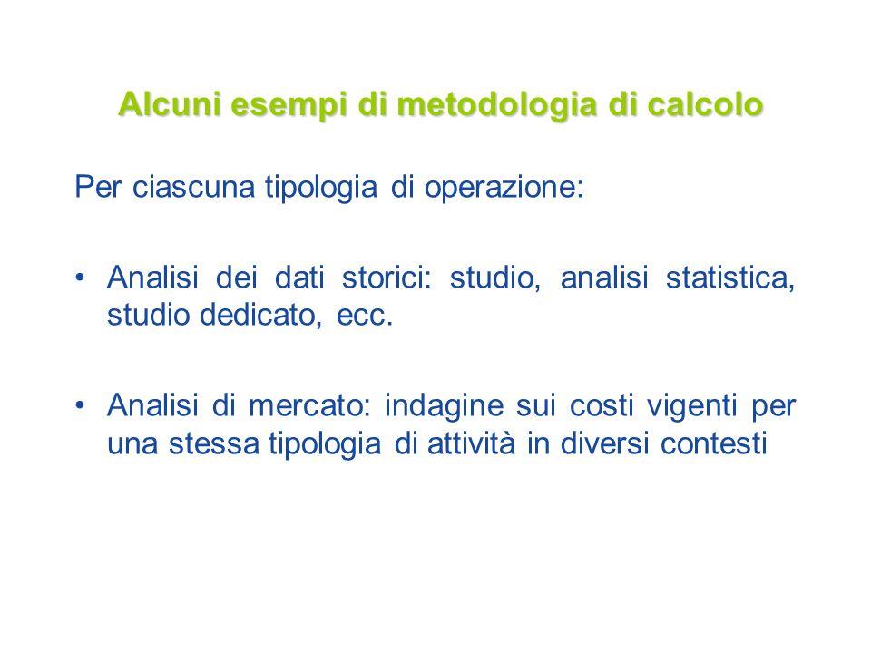 Alcuni esempi di metodologia di calcolo