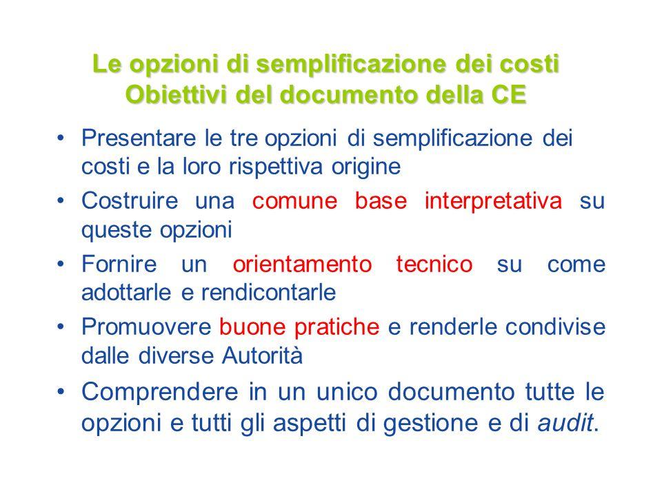 Le opzioni di semplificazione dei costi Obiettivi del documento della CE