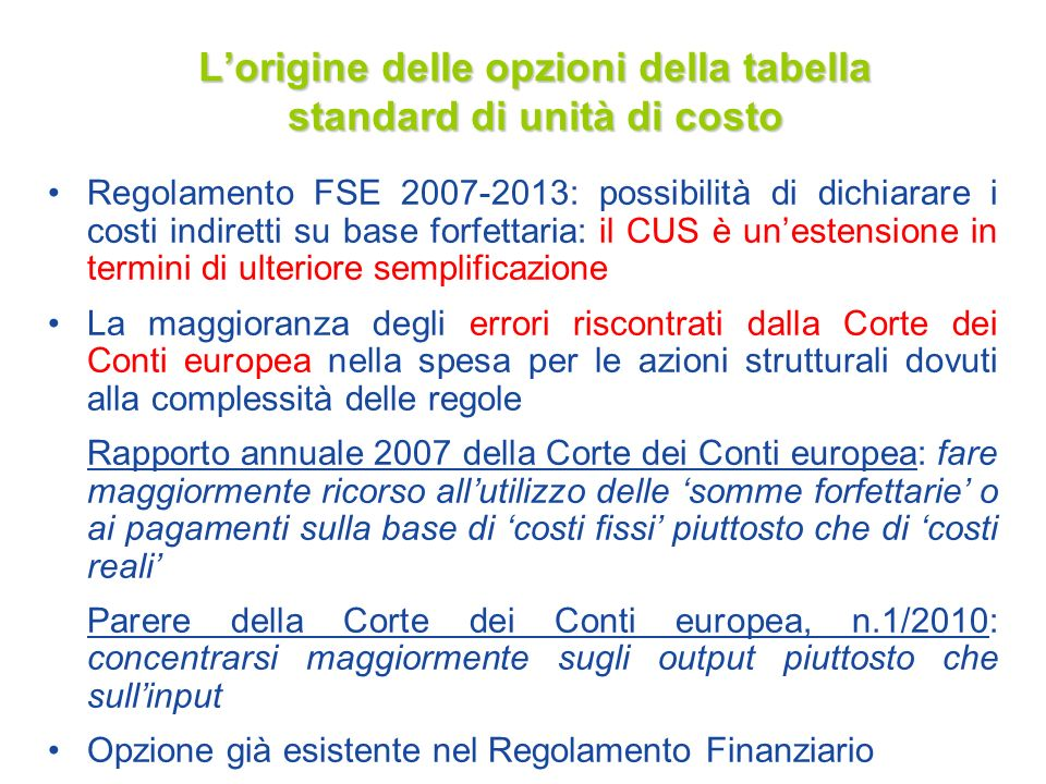 L'origine delle opzioni della tabella standard di unità di costo