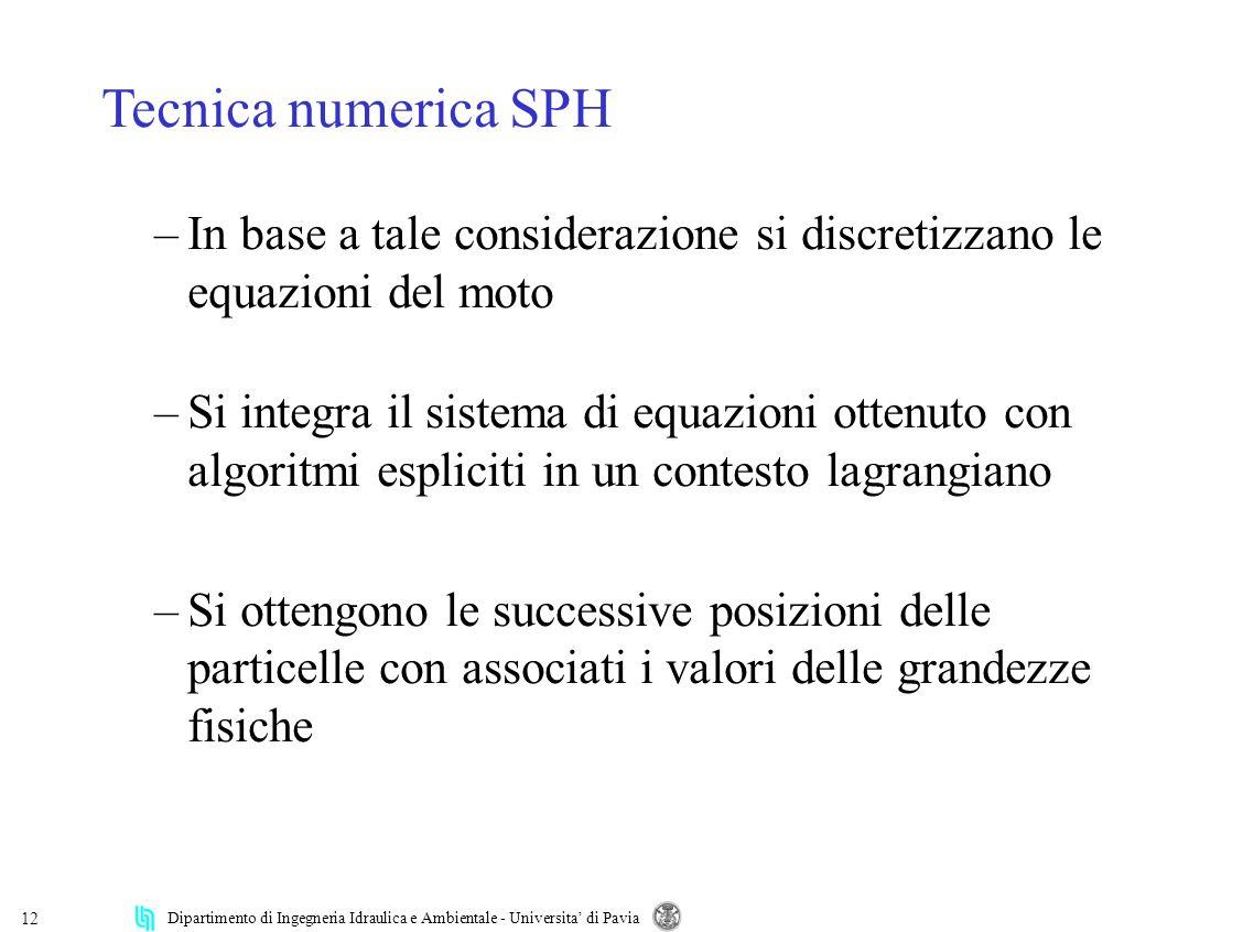 Tecnica numerica SPH In base a tale considerazione si discretizzano le equazioni del moto.