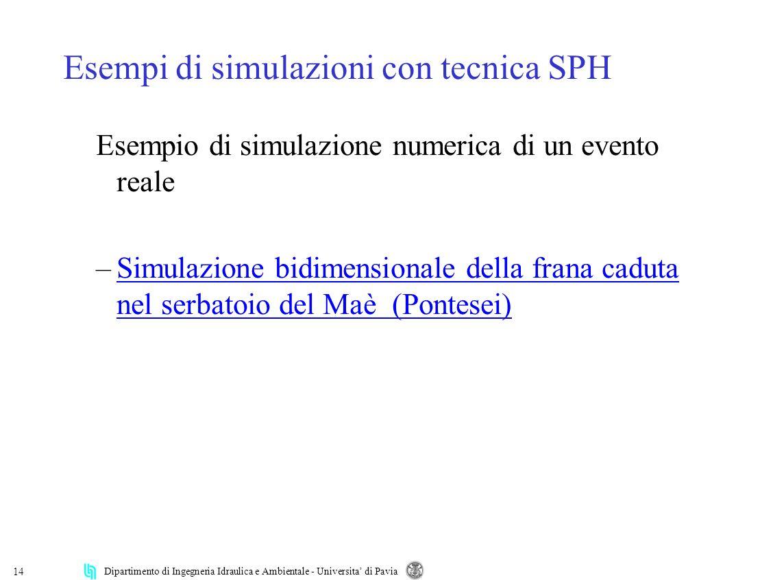 Esempi di simulazioni con tecnica SPH