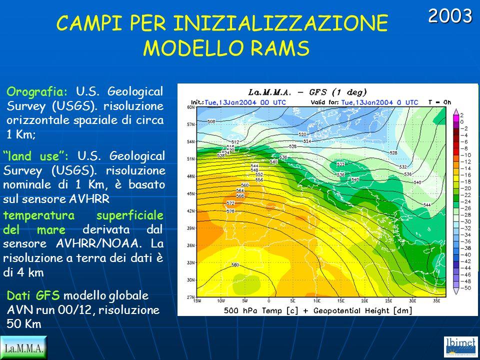 CAMPI PER INIZIALIZZAZIONE MODELLO RAMS