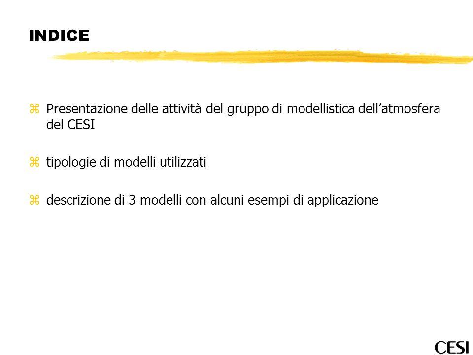 INDICE Presentazione delle attività del gruppo di modellistica dell'atmosfera del CESI. tipologie di modelli utilizzati.