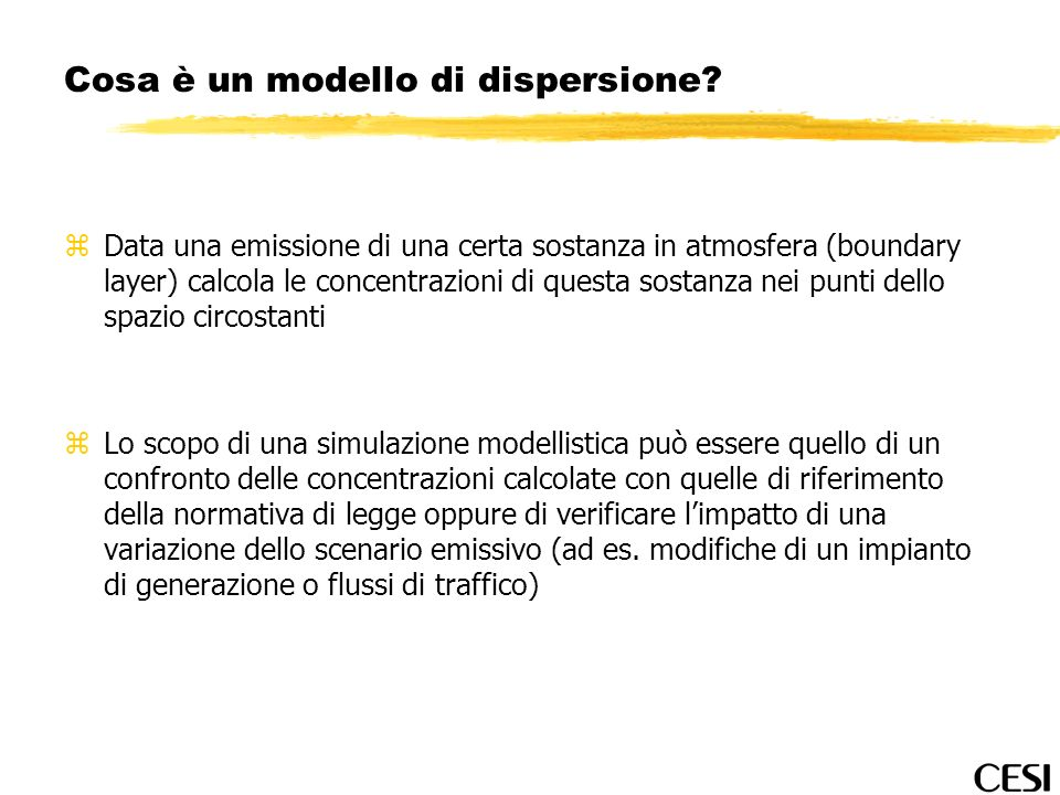 Cosa è un modello di dispersione