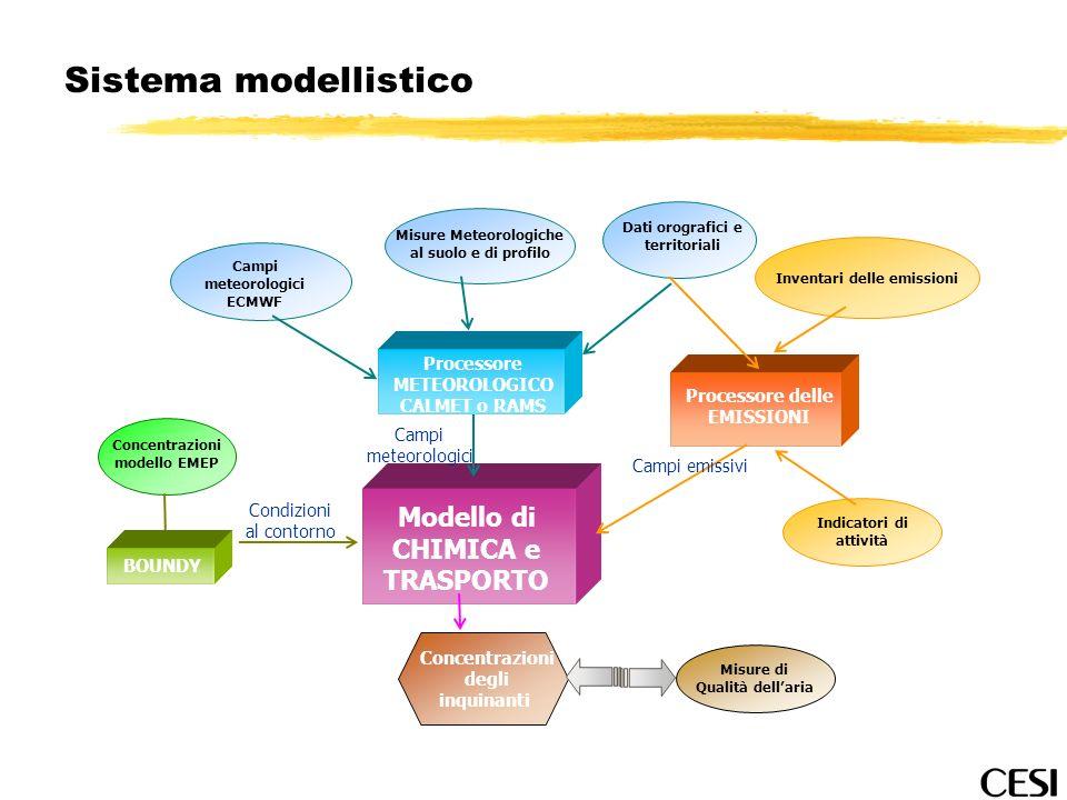 Sistema modellistico Modello di CHIMICA e TRASPORTO Processore