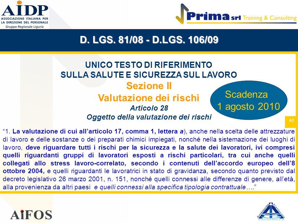 D. LGS. 81/08 - D.LGS. 106/09 Sezione II Valutazione dei rischi