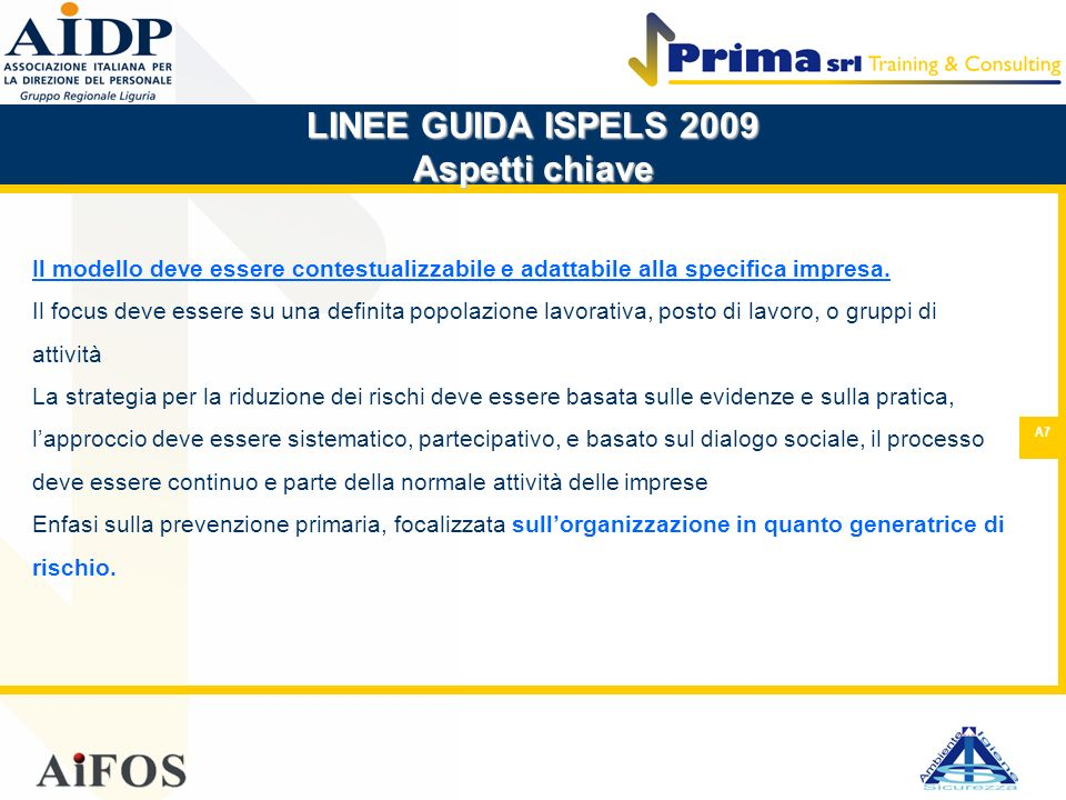 LINEE GUIDA ISPELS 2009 Aspetti chiave