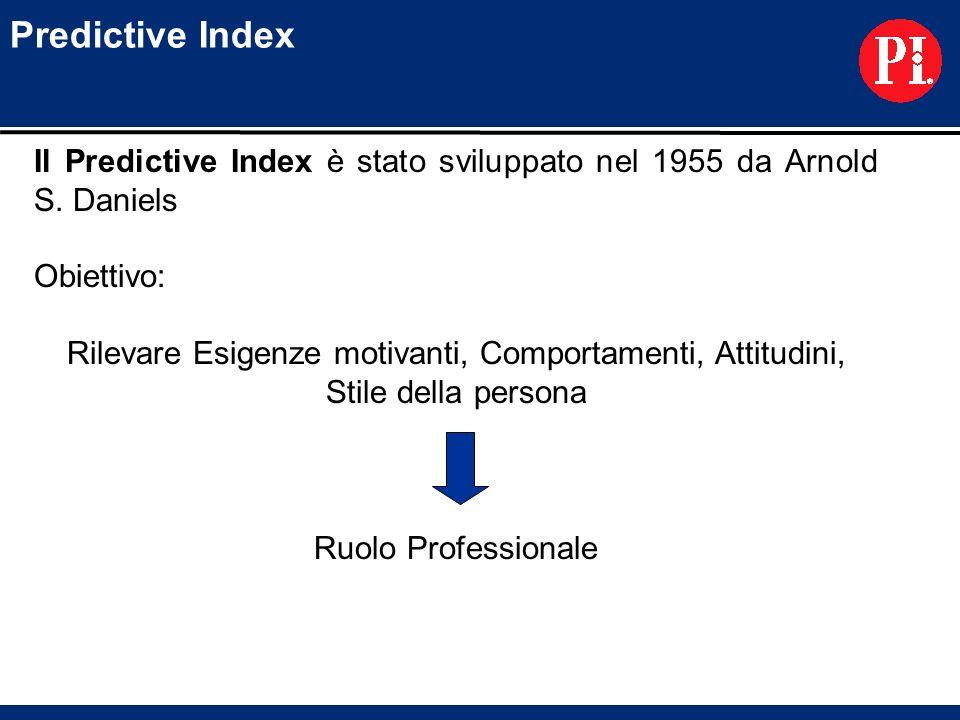 Predictive Index Il Predictive Index è stato sviluppato nel 1955 da Arnold S. Daniels. Obiettivo: