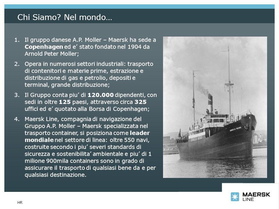Chi Siamo Nel mondo… Il gruppo danese A.P. Moller – Maersk ha sede a Copenhagen ed e' stato fondato nel 1904 da Arnold Peter Moller;