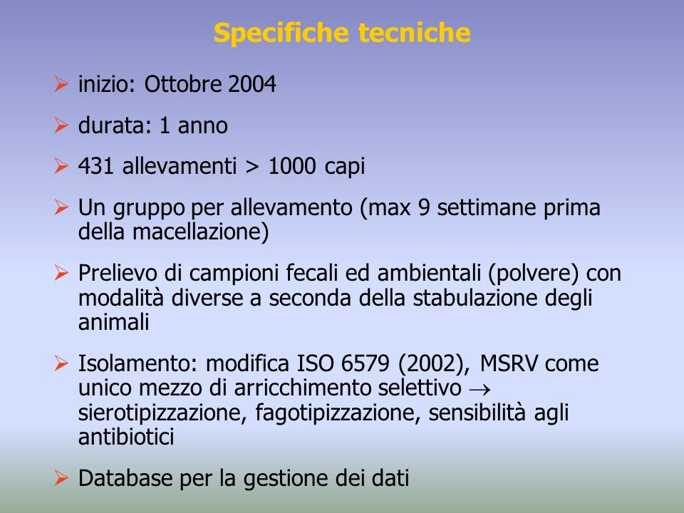 Specifiche tecniche inizio: Ottobre 2004 durata: 1 anno