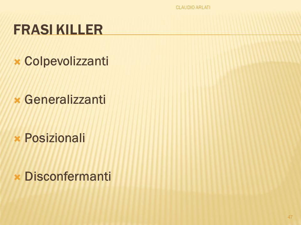 FRASI KILLER Colpevolizzanti Generalizzanti Posizionali Disconfermanti