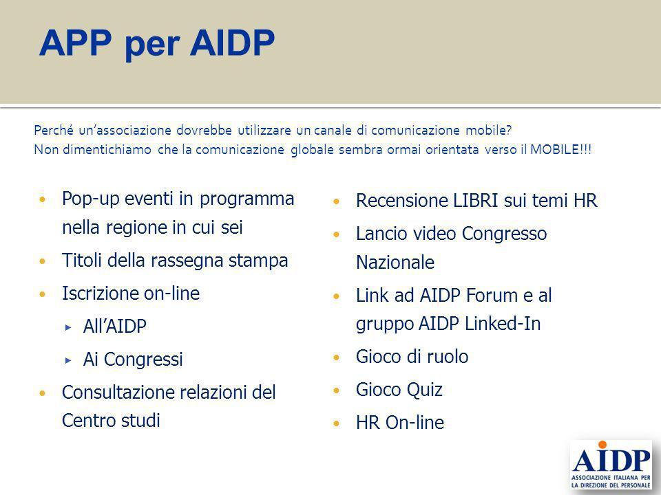 APP per AIDP Pop-up eventi in programma nella regione in cui sei