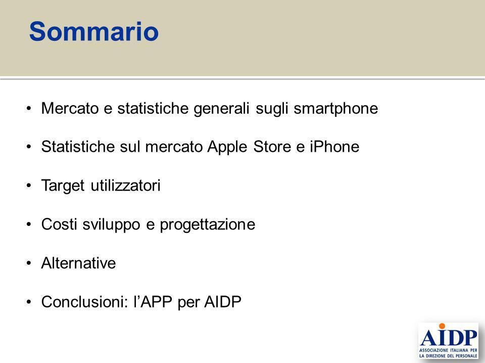 Sommario Mercato e statistiche generali sugli smartphone