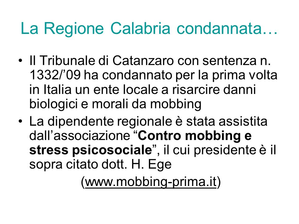 La Regione Calabria condannata…