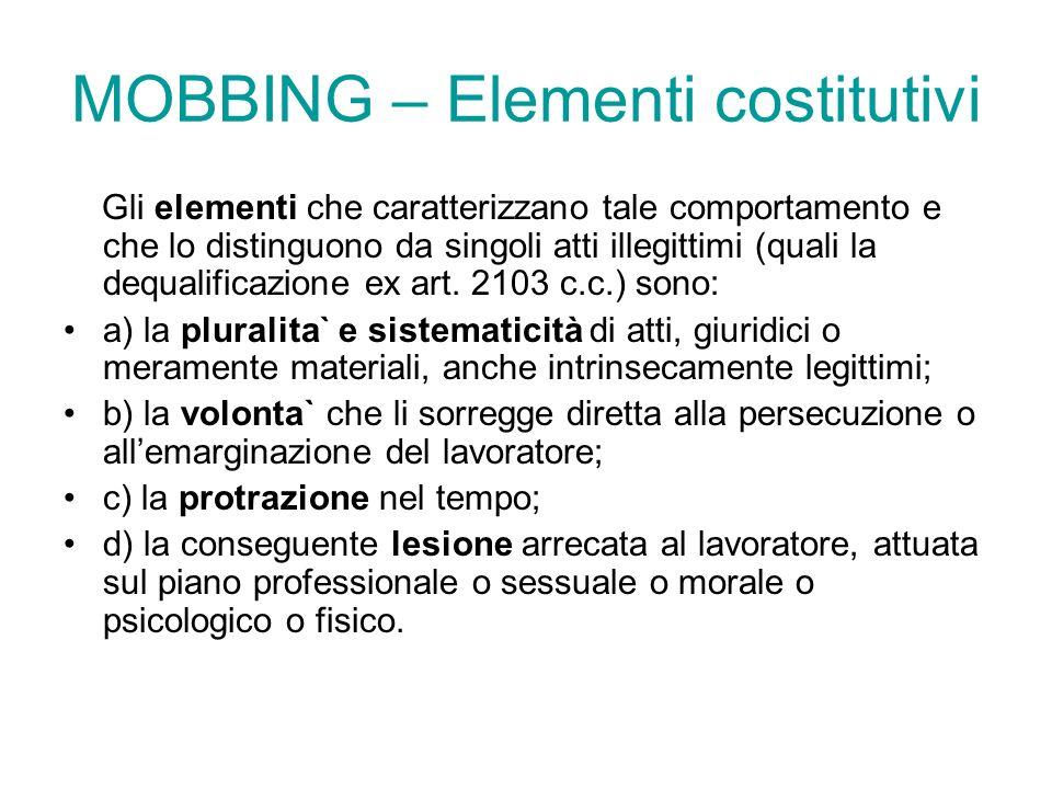 MOBBING – Elementi costitutivi