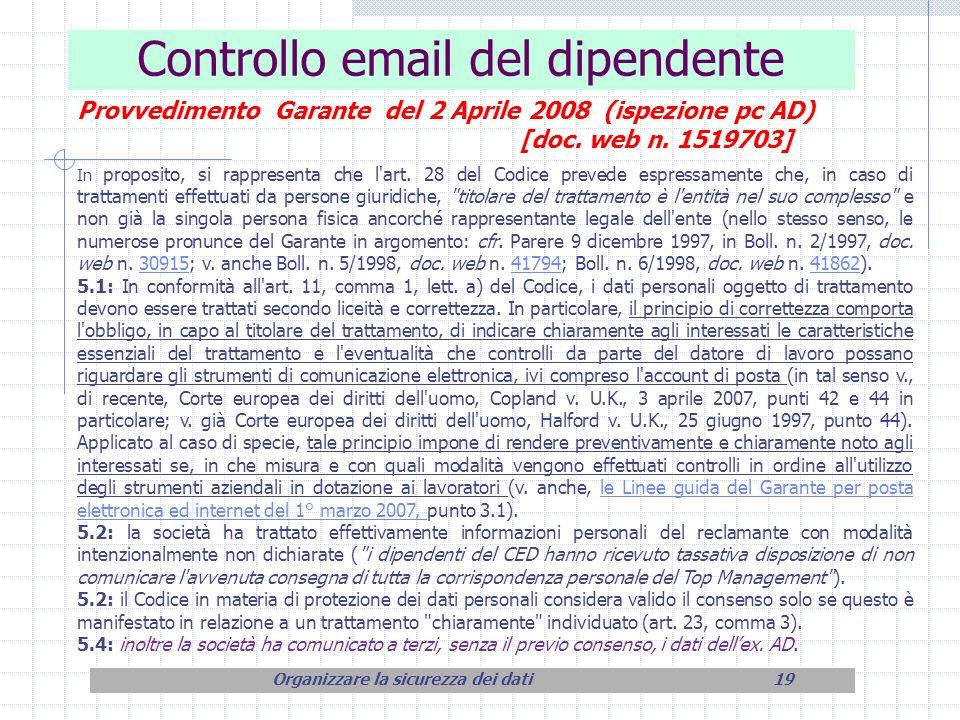 Controllo email del dipendente