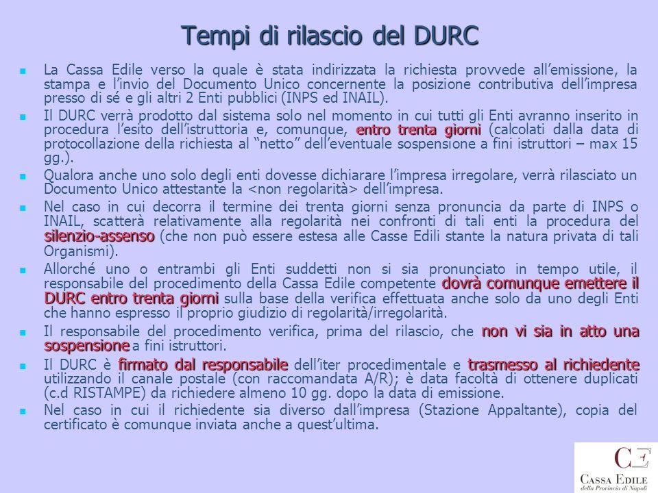 Tempi di rilascio del DURC