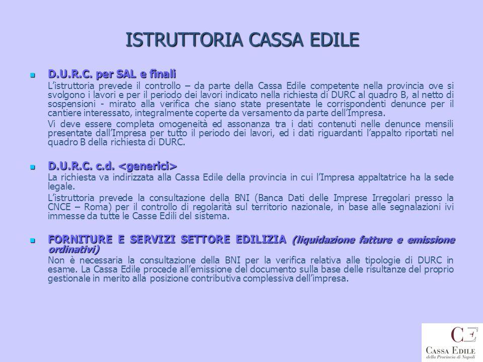 ISTRUTTORIA CASSA EDILE