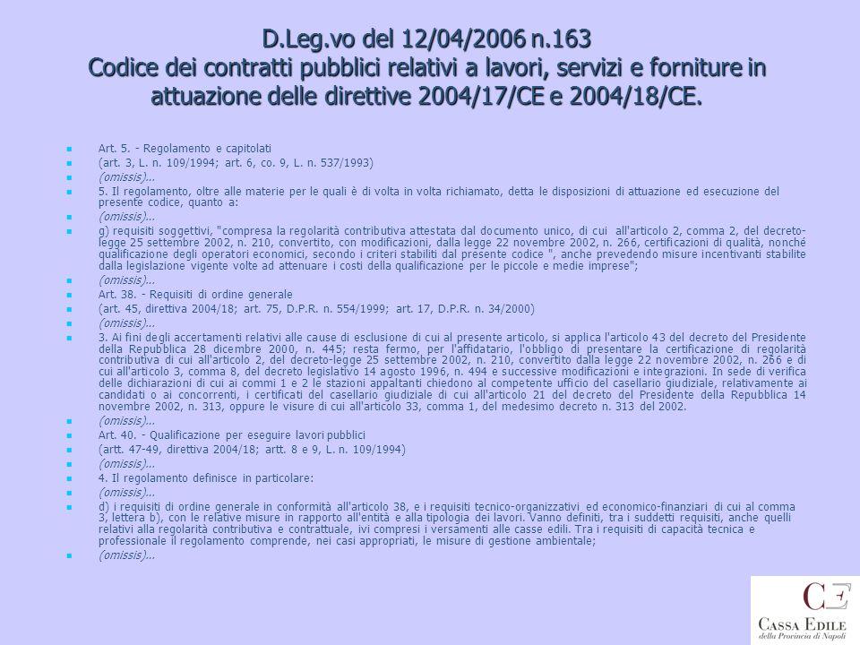 D.Leg.vo del 12/04/2006 n.163 Codice dei contratti pubblici relativi a lavori, servizi e forniture in attuazione delle direttive 2004/17/CE e 2004/18/CE.