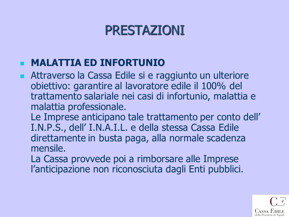 PRESTAZIONI MALATTIA ED INFORTUNIO