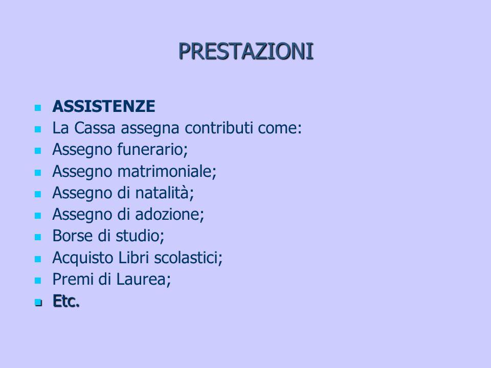 PRESTAZIONI ASSISTENZE La Cassa assegna contributi come: