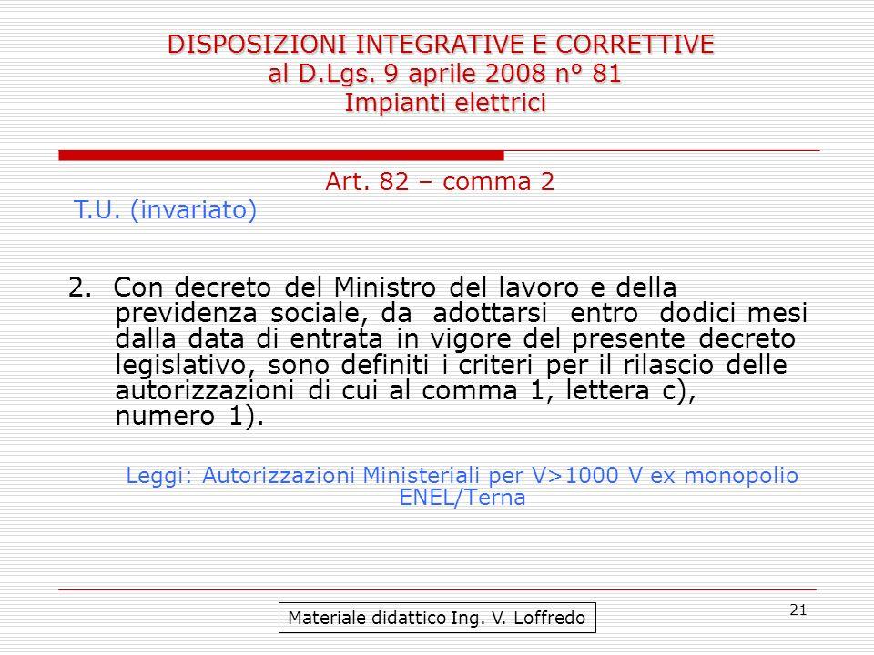 DISPOSIZIONI INTEGRATIVE E CORRETTIVE al D. Lgs