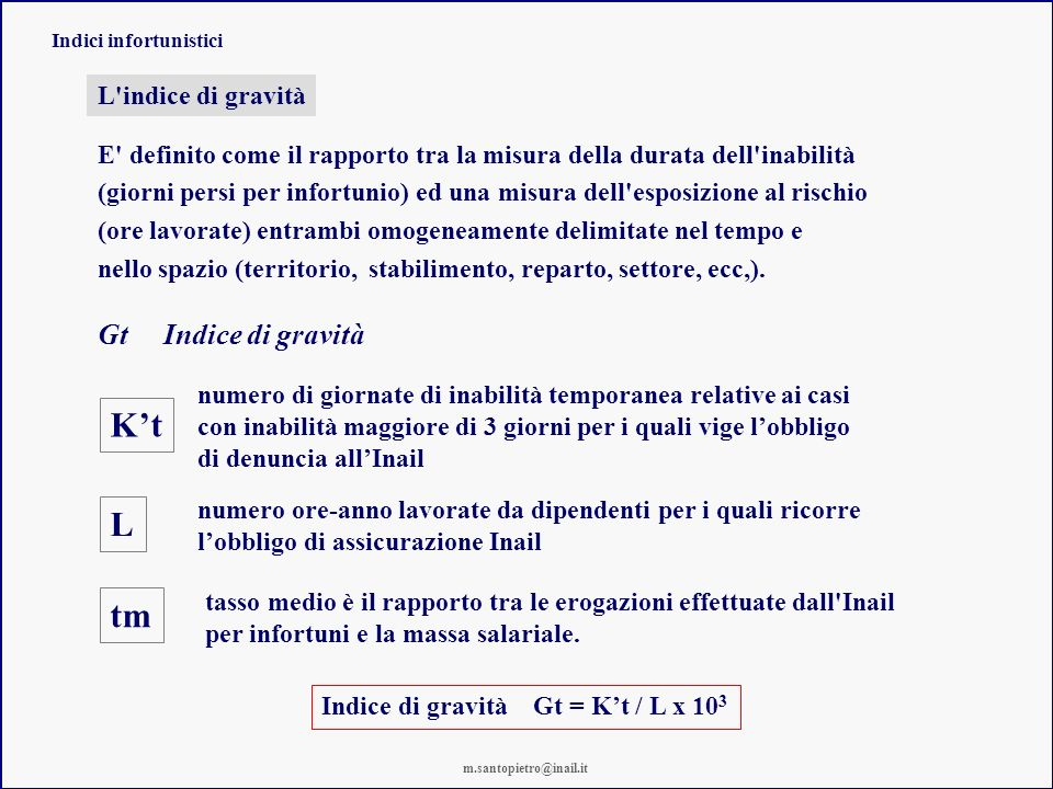Indici infortunistici