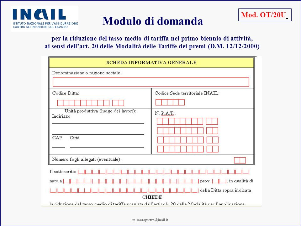 Modulo di domanda Mod. OT/20U