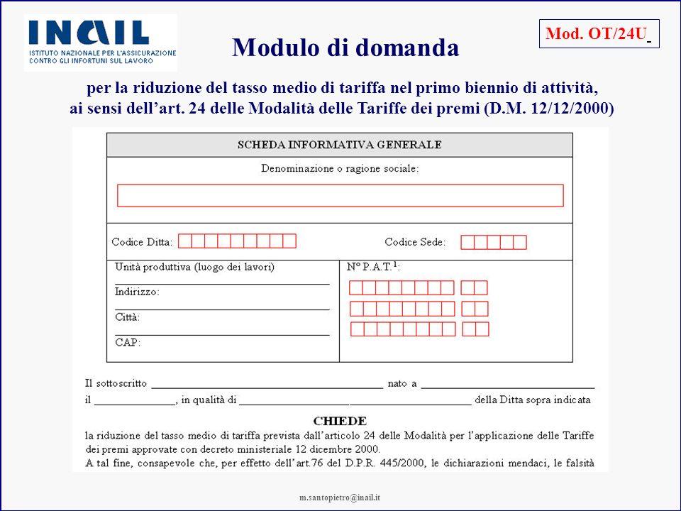 Modulo di domanda Mod. OT/24U