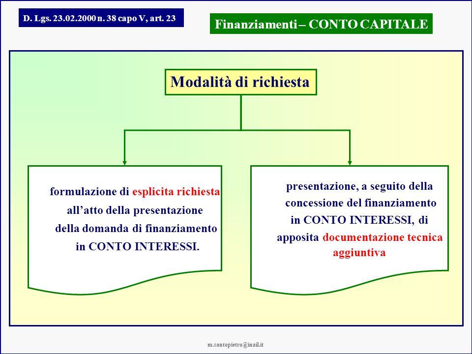 Modalità di richiesta Finanziamenti – CONTO CAPITALE