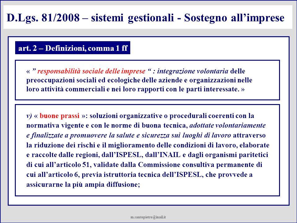 D.Lgs. 81/2008 – sistemi gestionali - Sostegno all'imprese