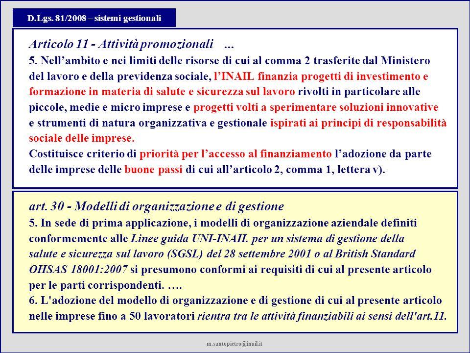 D.Lgs. 81/2008 – sistemi gestionali