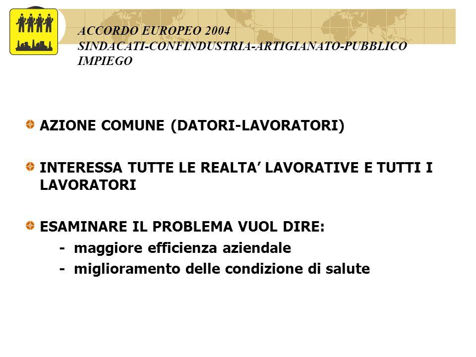 AZIONE COMUNE (DATORI-LAVORATORI)