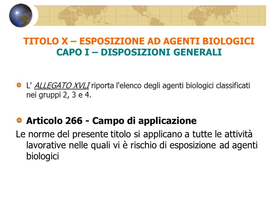TITOLO X – ESPOSIZIONE AD AGENTI BIOLOGICI