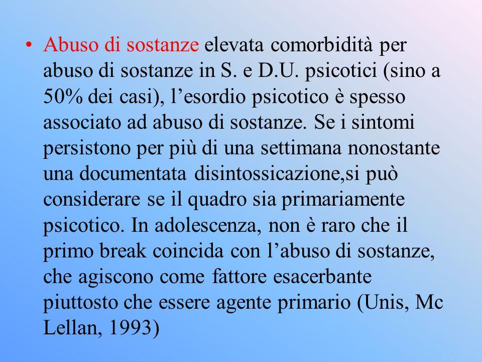Abuso di sostanze elevata comorbidità per abuso di sostanze in S. e D